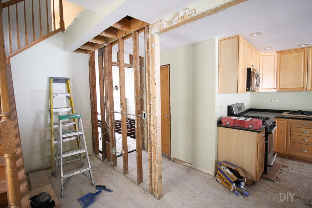 Exposed framing in the kitchen