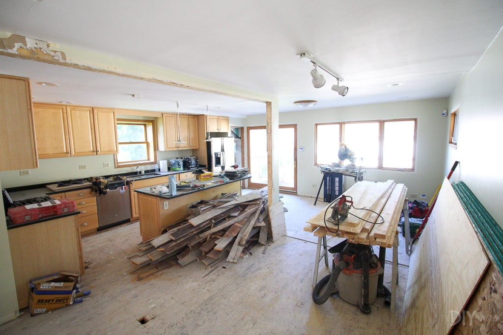 Beam in kitchen during renovation progress