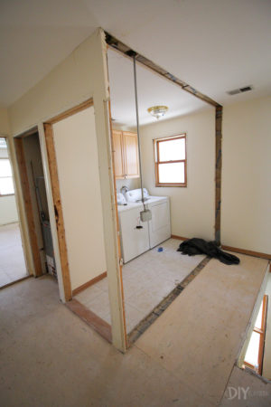 removing a wall to make a larger laundry room