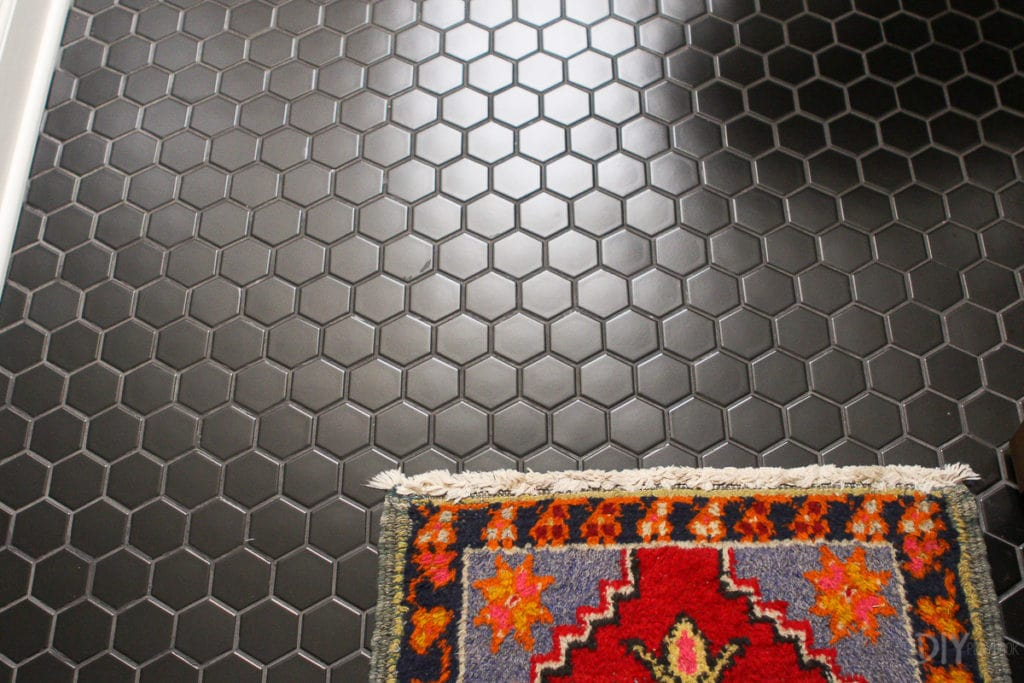 Black hexagon flooring