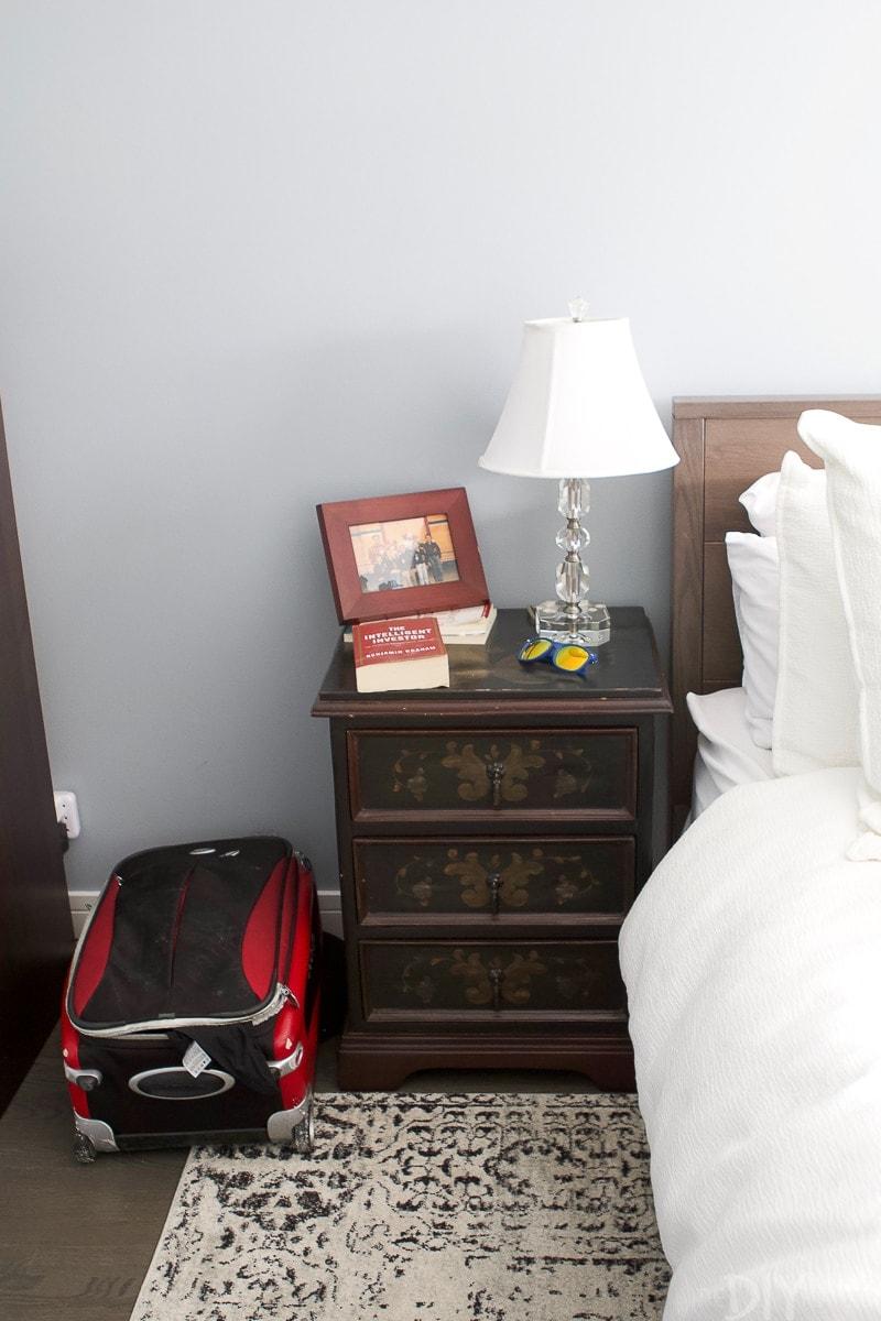 Before guest room nightstands