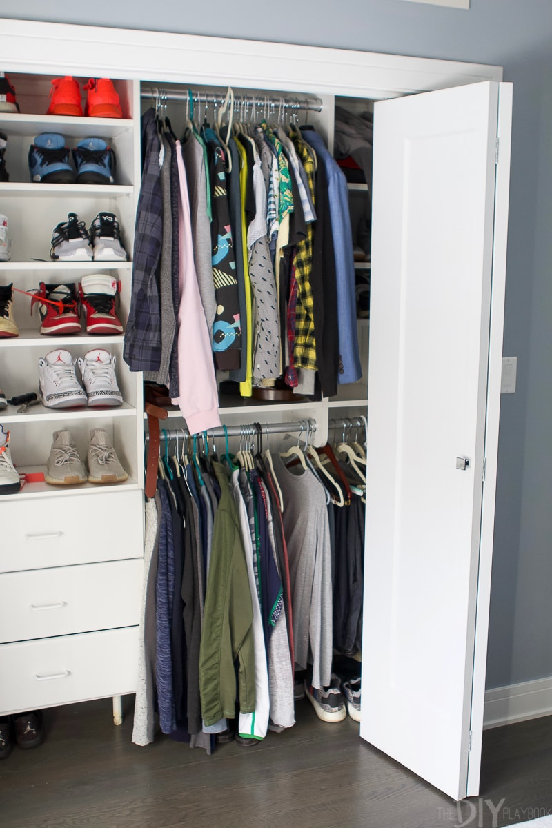 Built-in closet in guest room