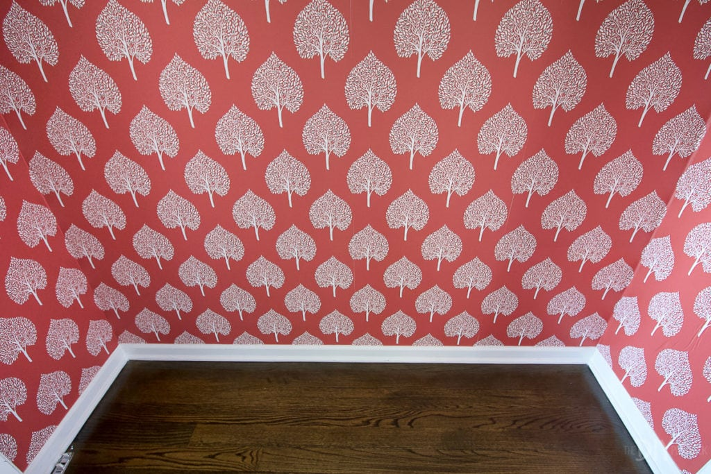Peel and stick wallpaper in a closet