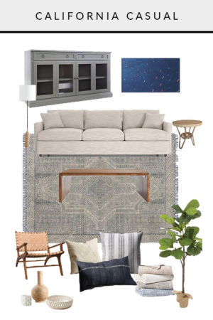California Casual Mood Board Living Room