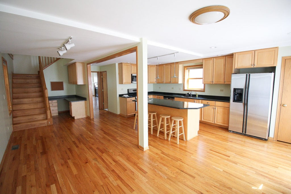 Kitchen and dining at the Finn Fixer Upper before