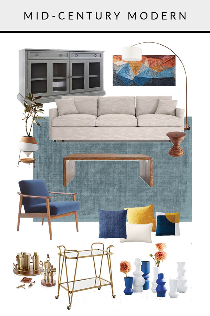 MID CENTURY MODERN LIVING ROOM MOOD BOARD