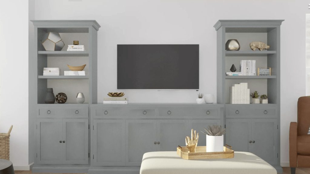 Built-ins on the living room wall