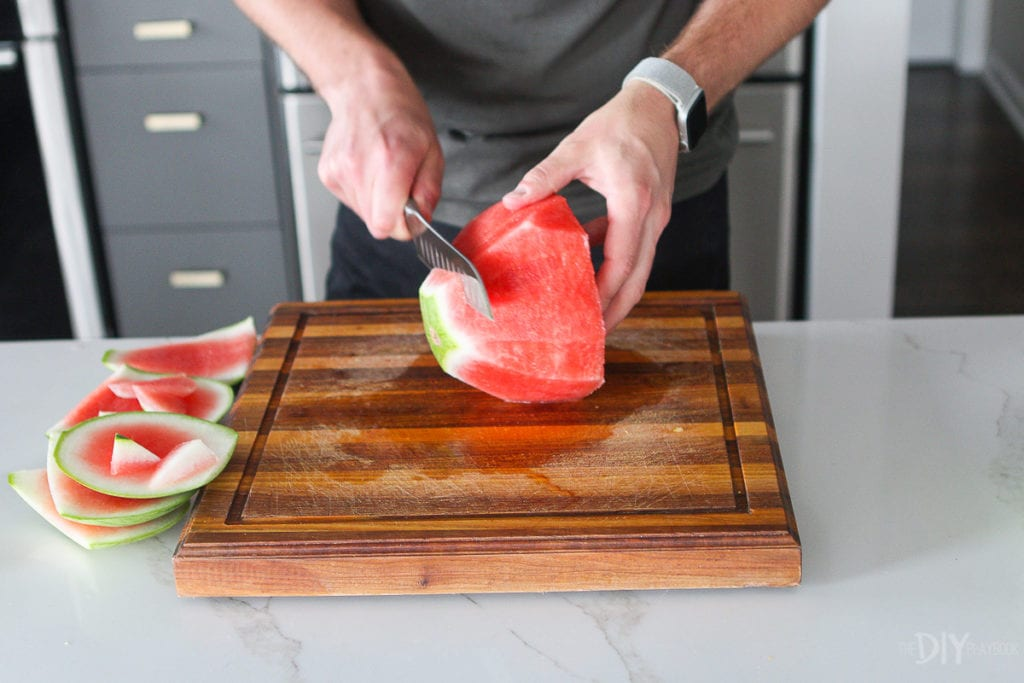 Cut the top off a watermelon