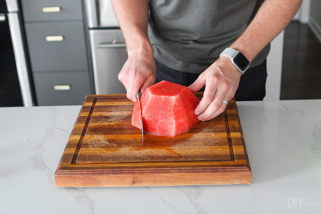 how to cut a watermelon into bite sized pieces