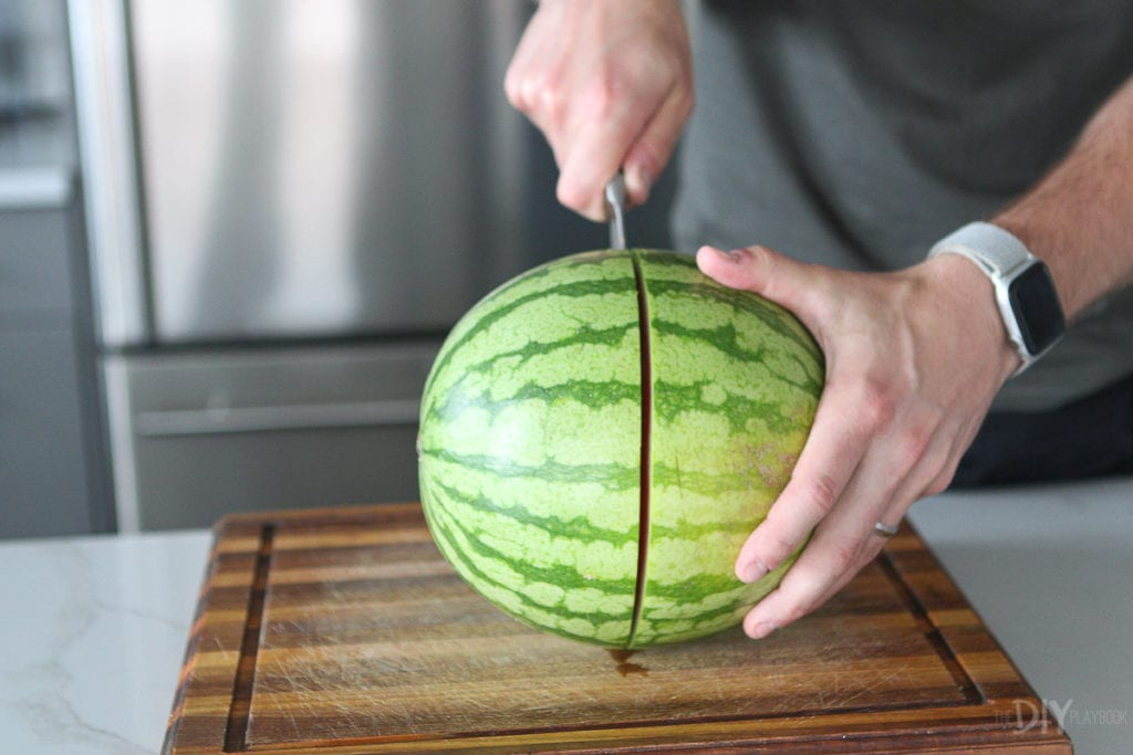 Cut the watermelon in half