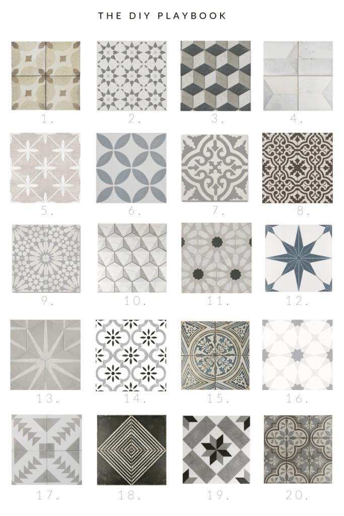 20 patterned floor tiles