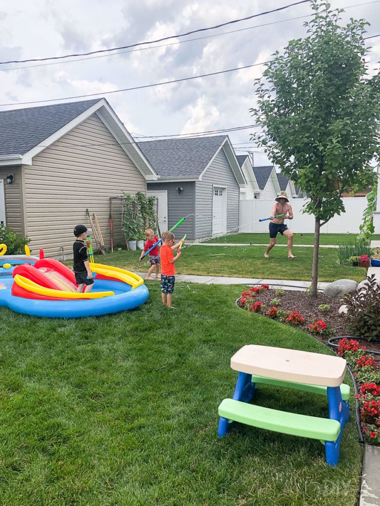 Finn playing at Harry's birthdy party