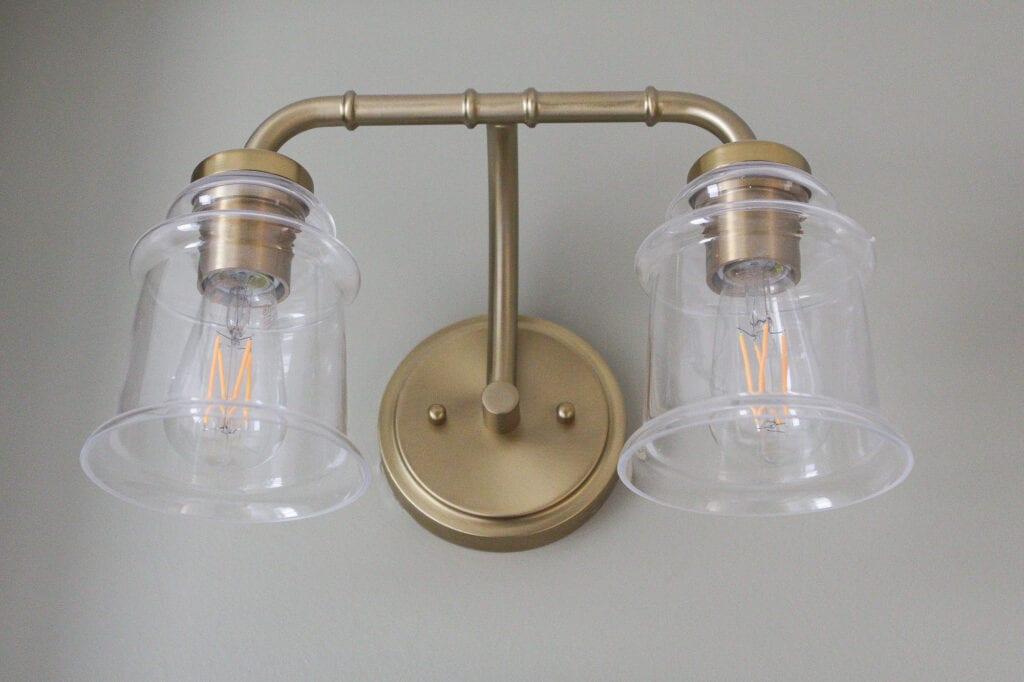 Brass vanity light from Lowe's