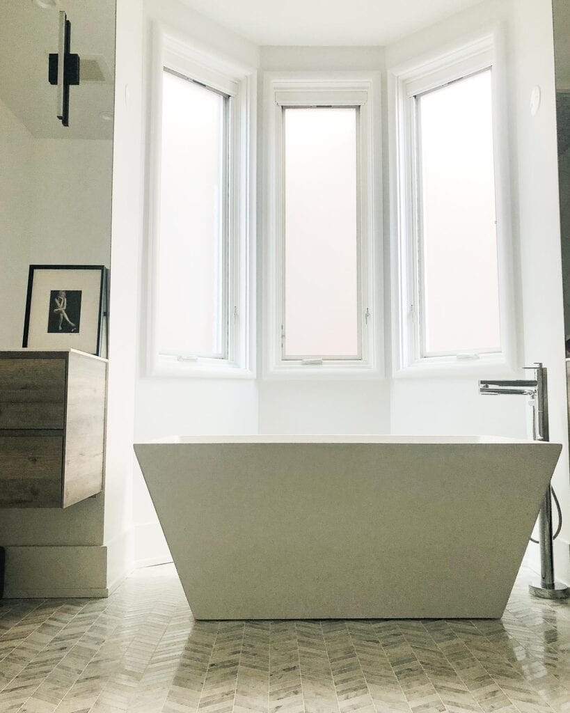 Modern bathtub in a bathroom