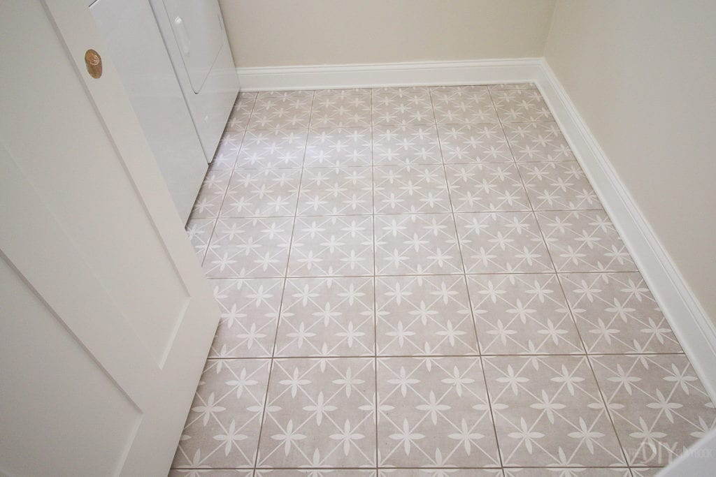 Patterned floor tile in the laundry room