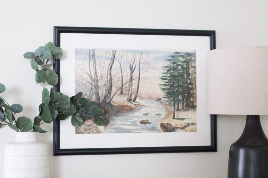 Black frame and cream mat from custom framing