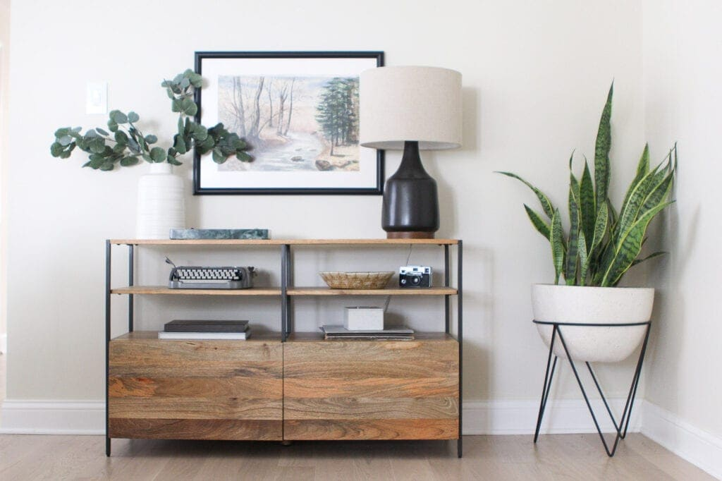 Entryway console with custom frame over