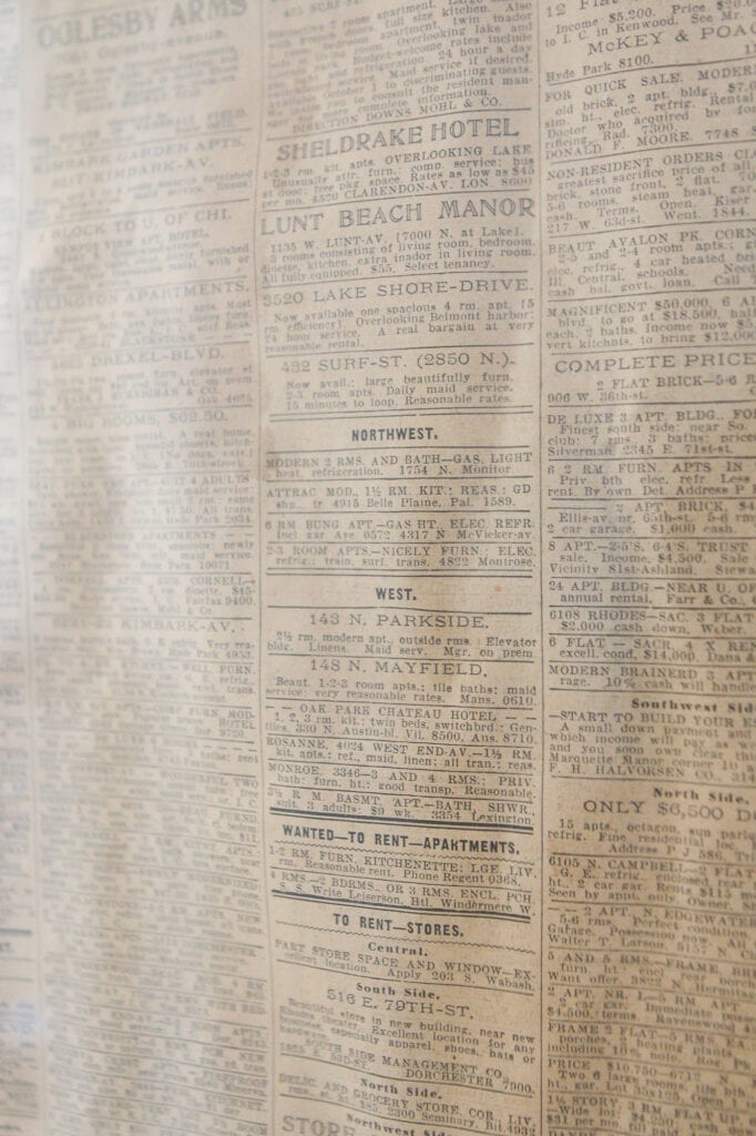 Real estate section from 1938 newspaper