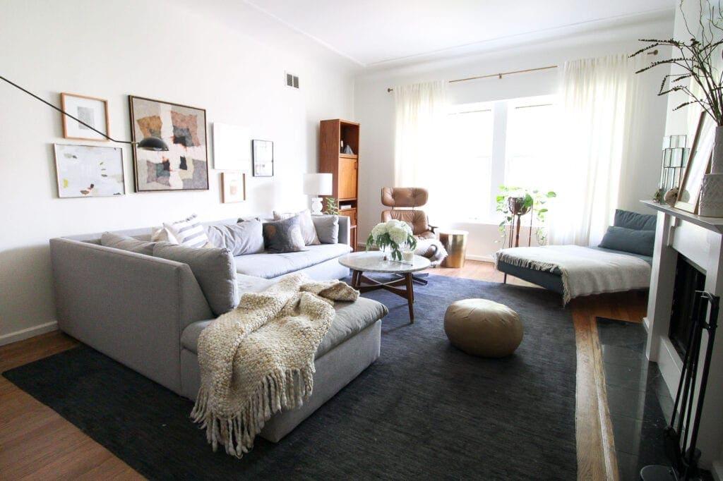 Midcentury modern living room setup