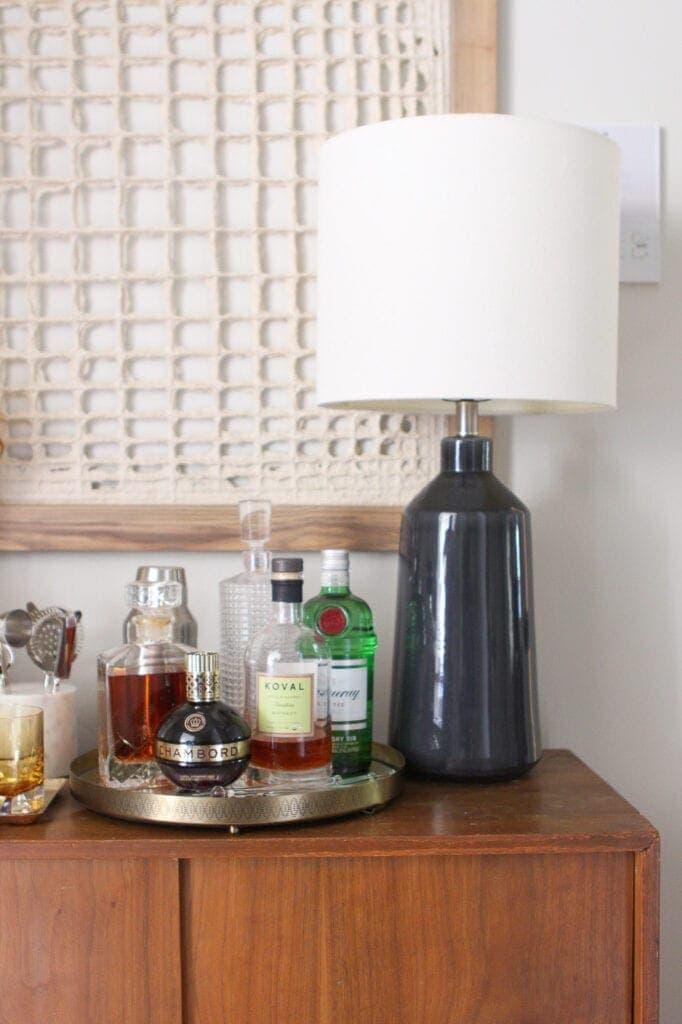 Bar on vintage dresser