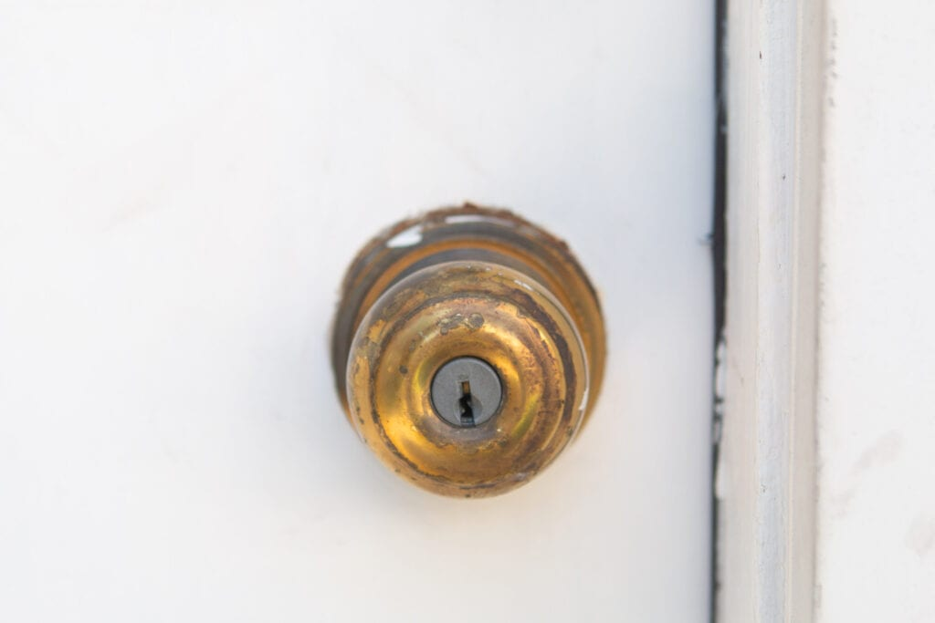 Our garage door hardware before