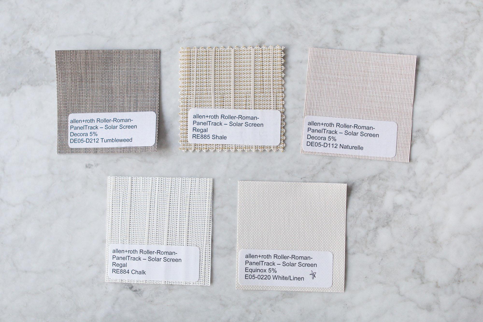 Variety of window shade fabrics