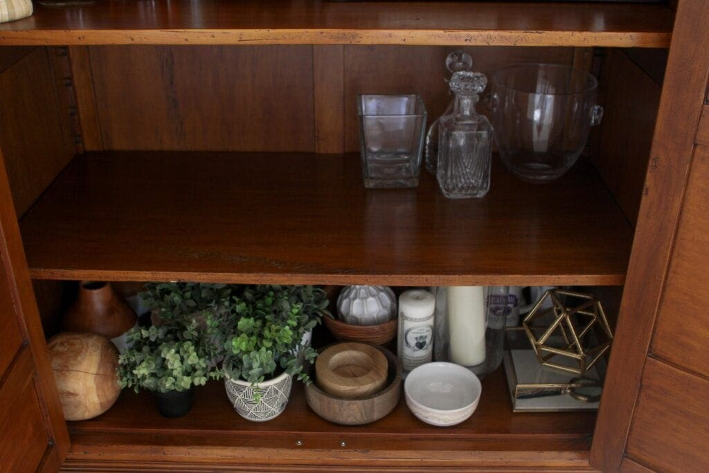 Home decor on a shelf