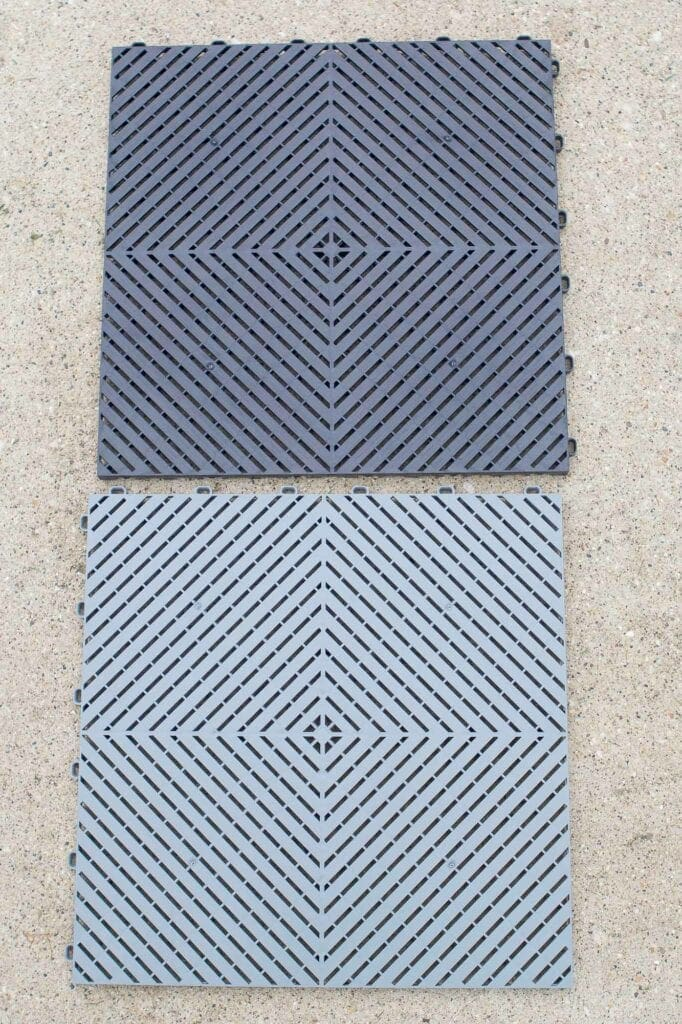 Black and gray garage floor tiles