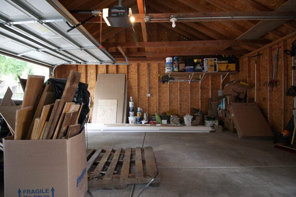 Our messy garage before