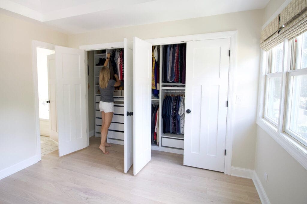 Our new organized closet that is reach-in