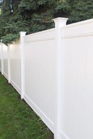 Our new white vinyl fence