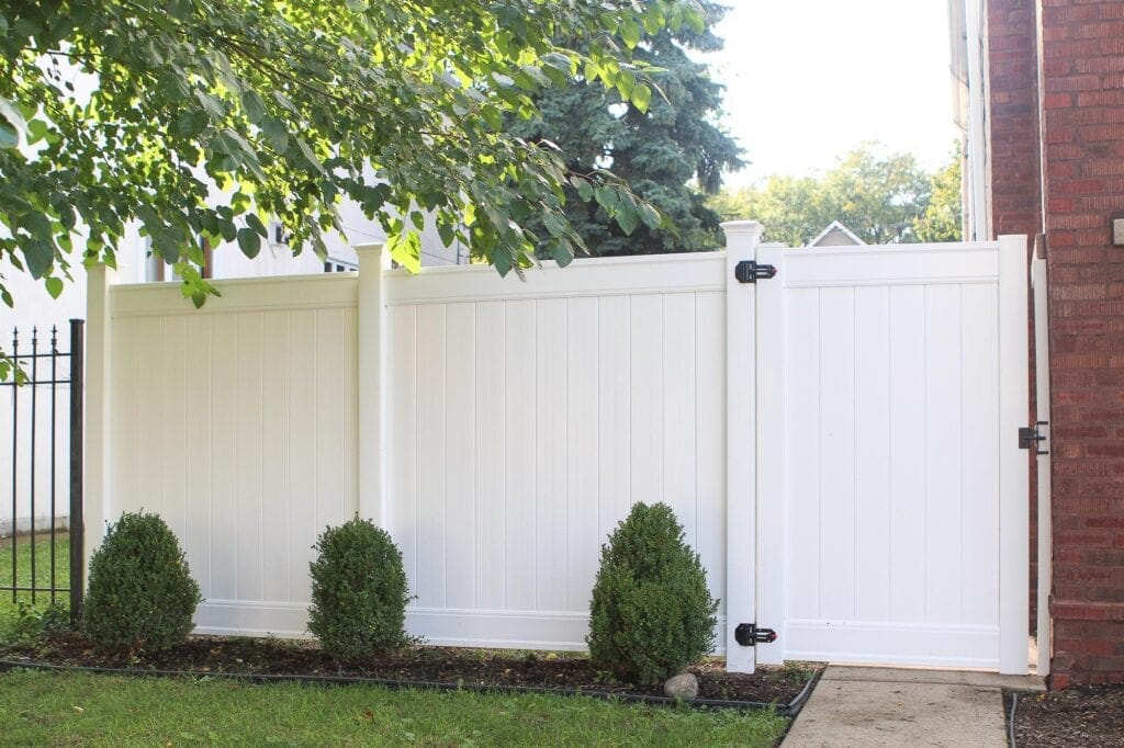 Our new white vinyl fence