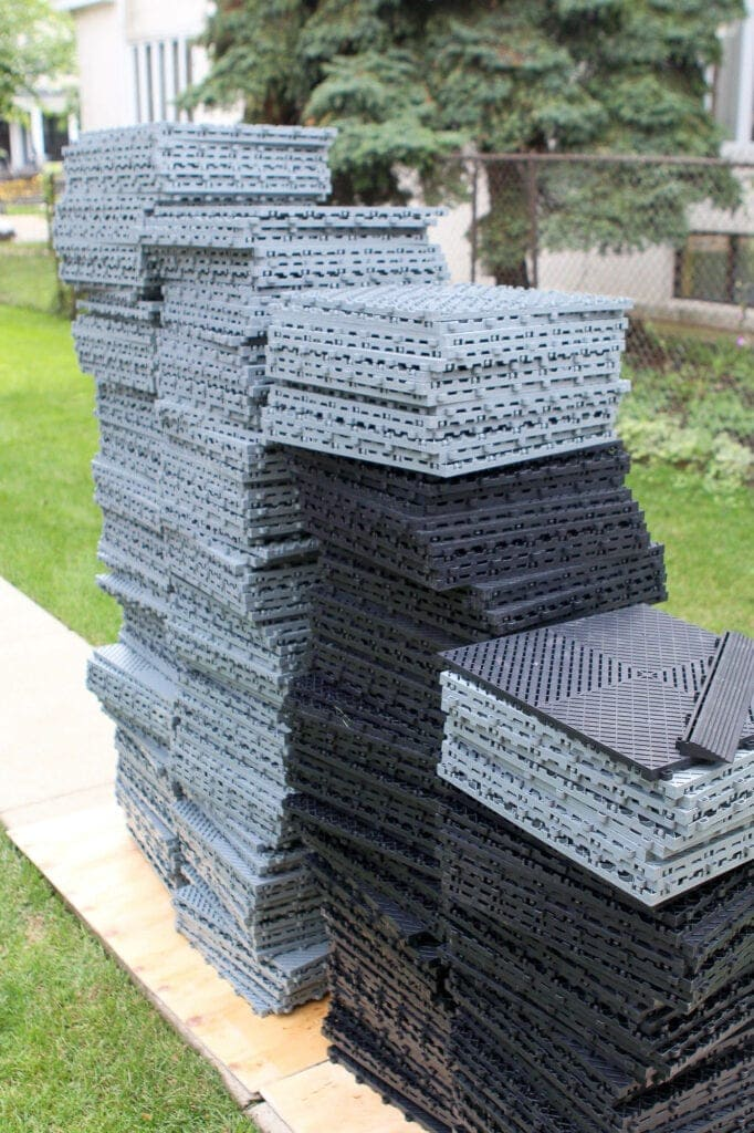 Stack of garage floor tiles from Montezuma Storage