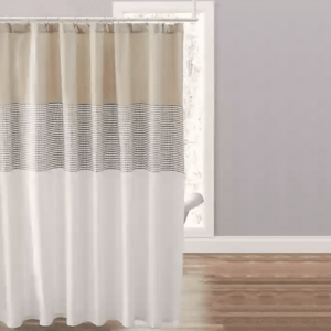 Striped extra long shower curtain
