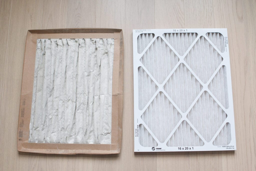 Before and after air filter