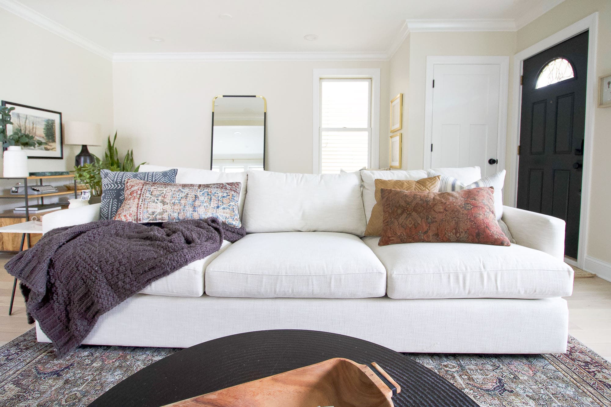 Our white couch from crate and Barrel
