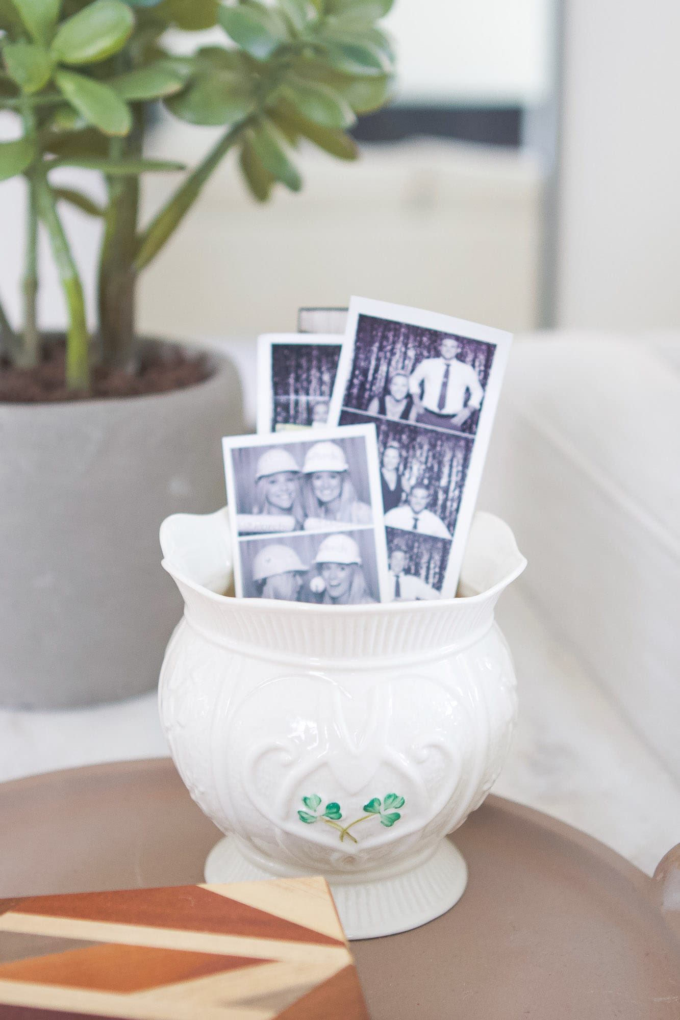 Vase with polaroid pictures