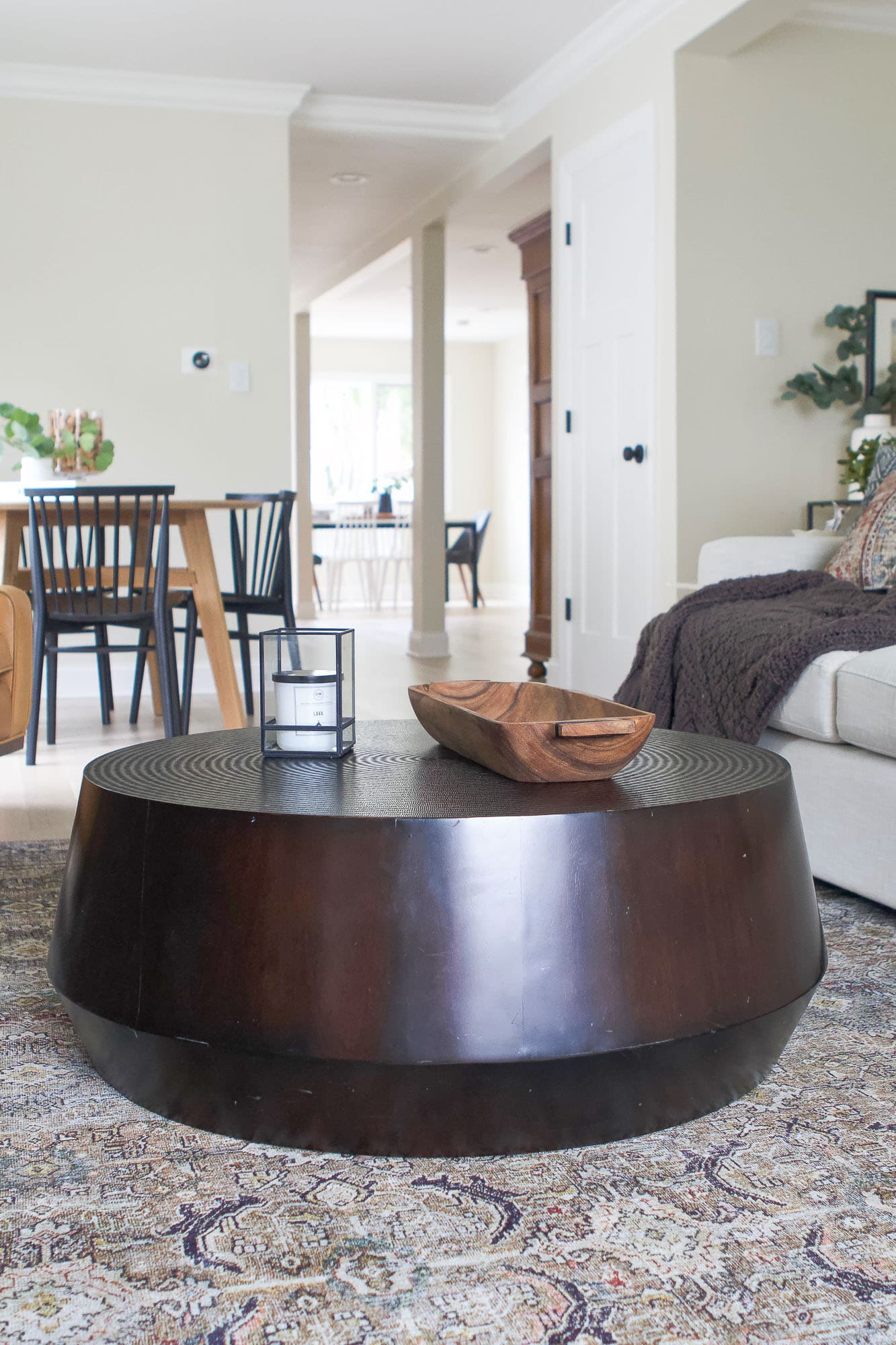 Our round coffee table from Crate and Barrel