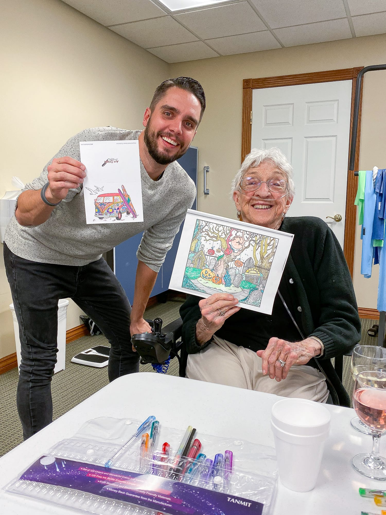 Ryan and Meme at coloring class
