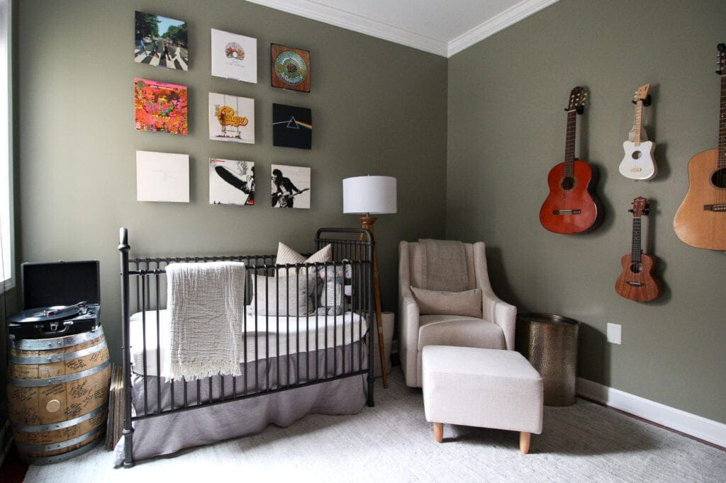 A baby boy's nursery with a music theme