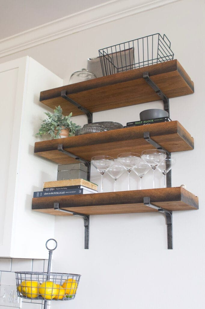Wood shelves in a kitchen