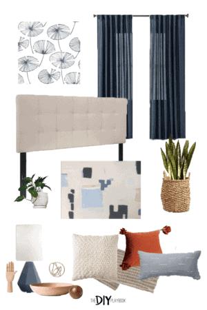 budget bedroom moodboard