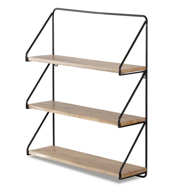three bathroom shelves