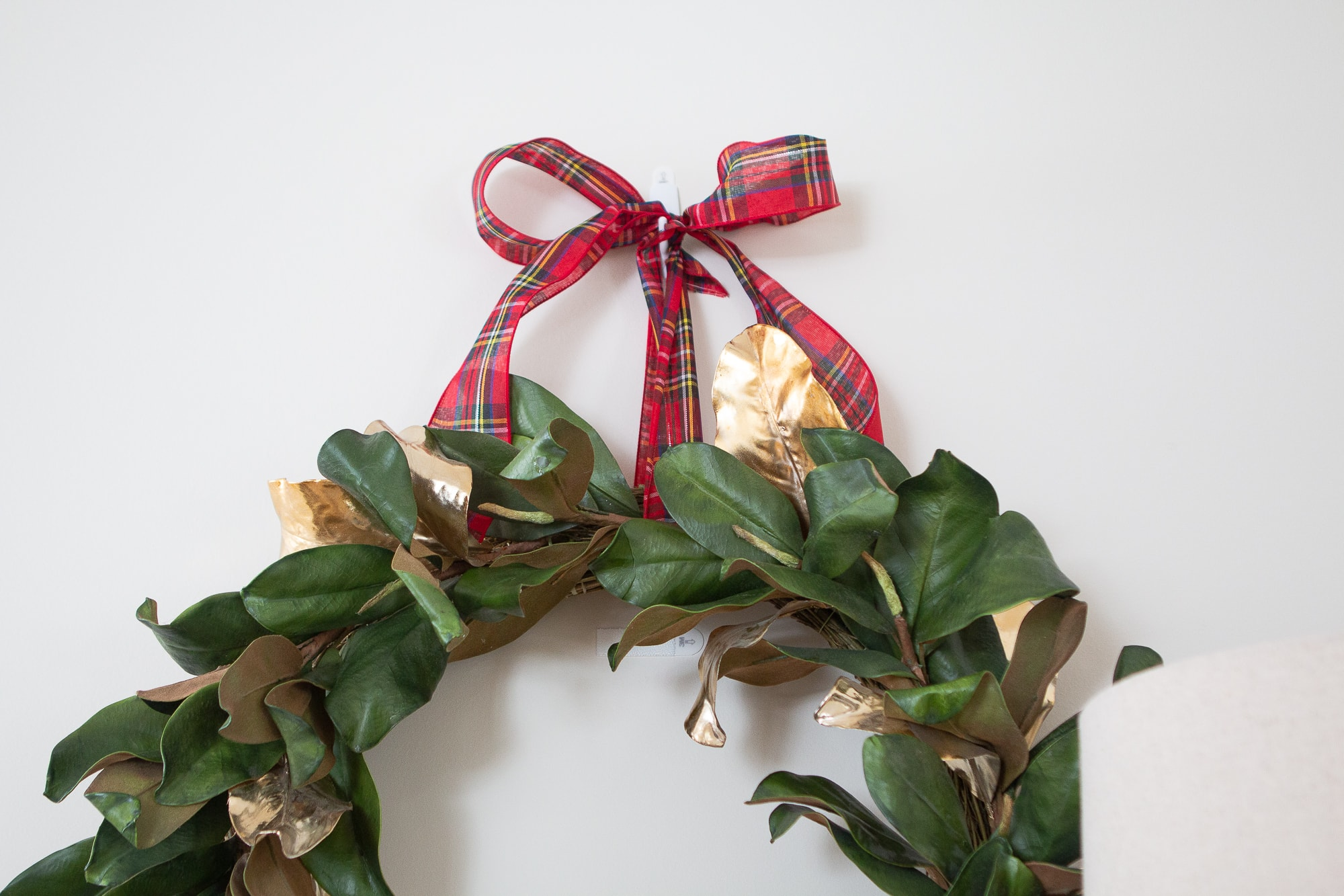 Hang a wreath using a command hook