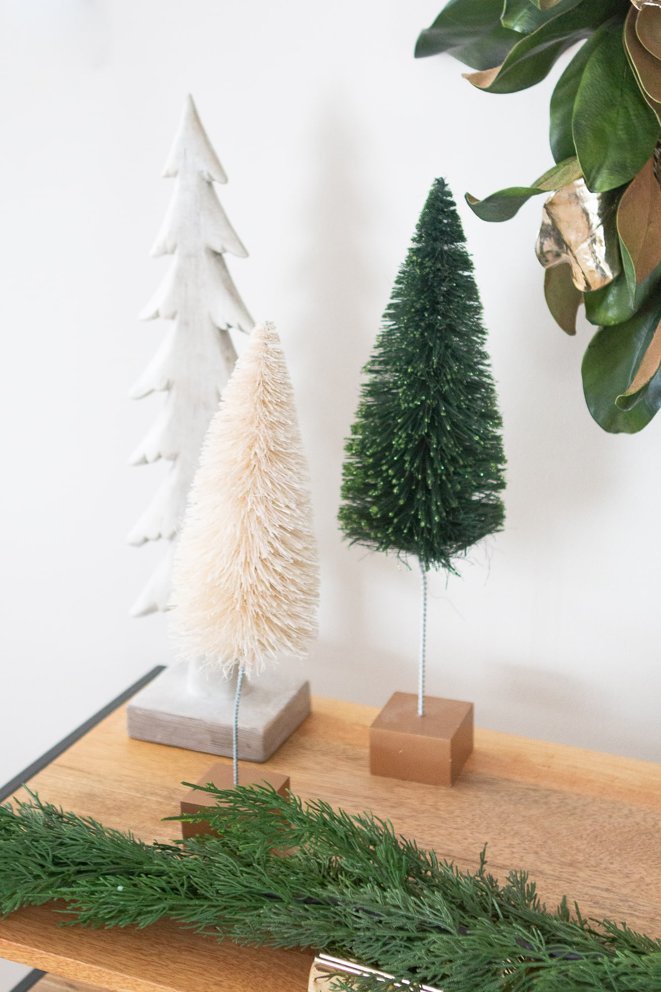 Group holiday decor in threes