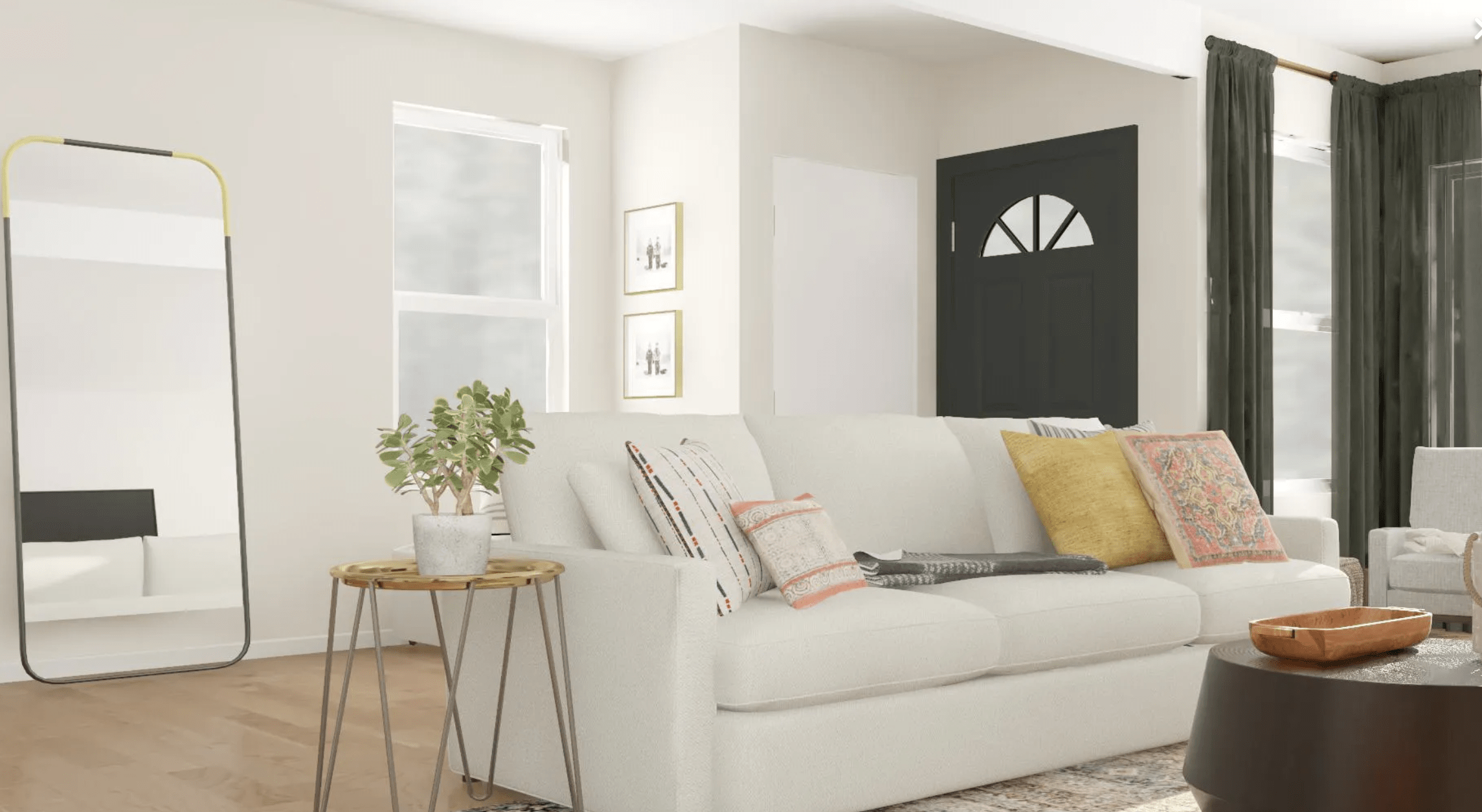 Modsy couch and living room