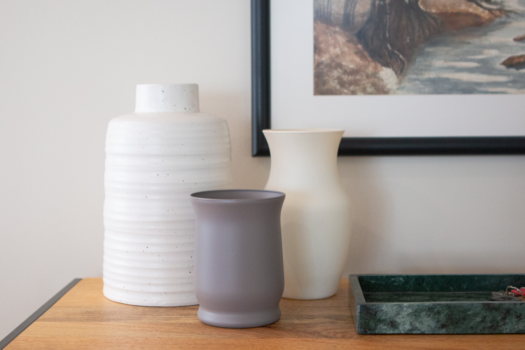 Chalk spray paint vases in the home