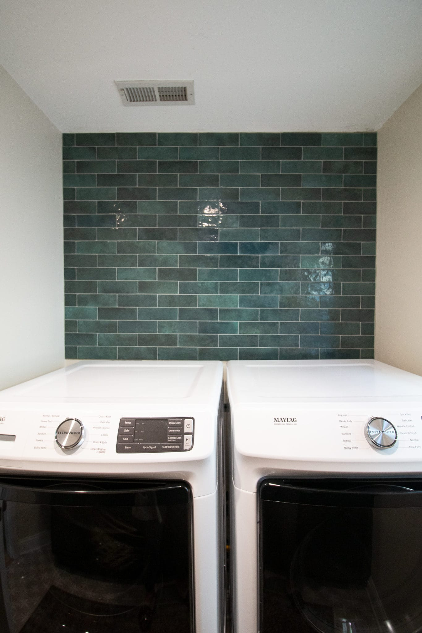 Adding a green tile backsplash to our laundry room