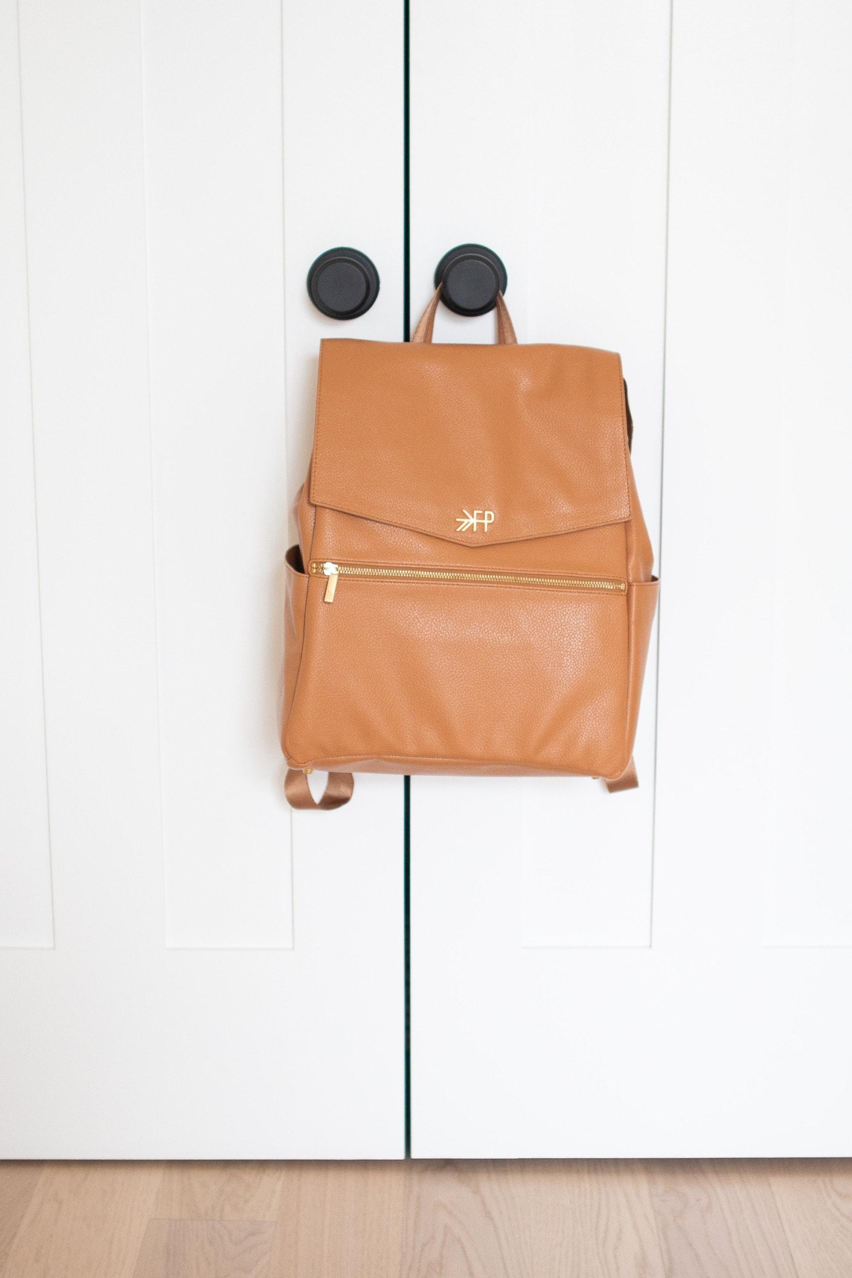 Brown leather diaper bag