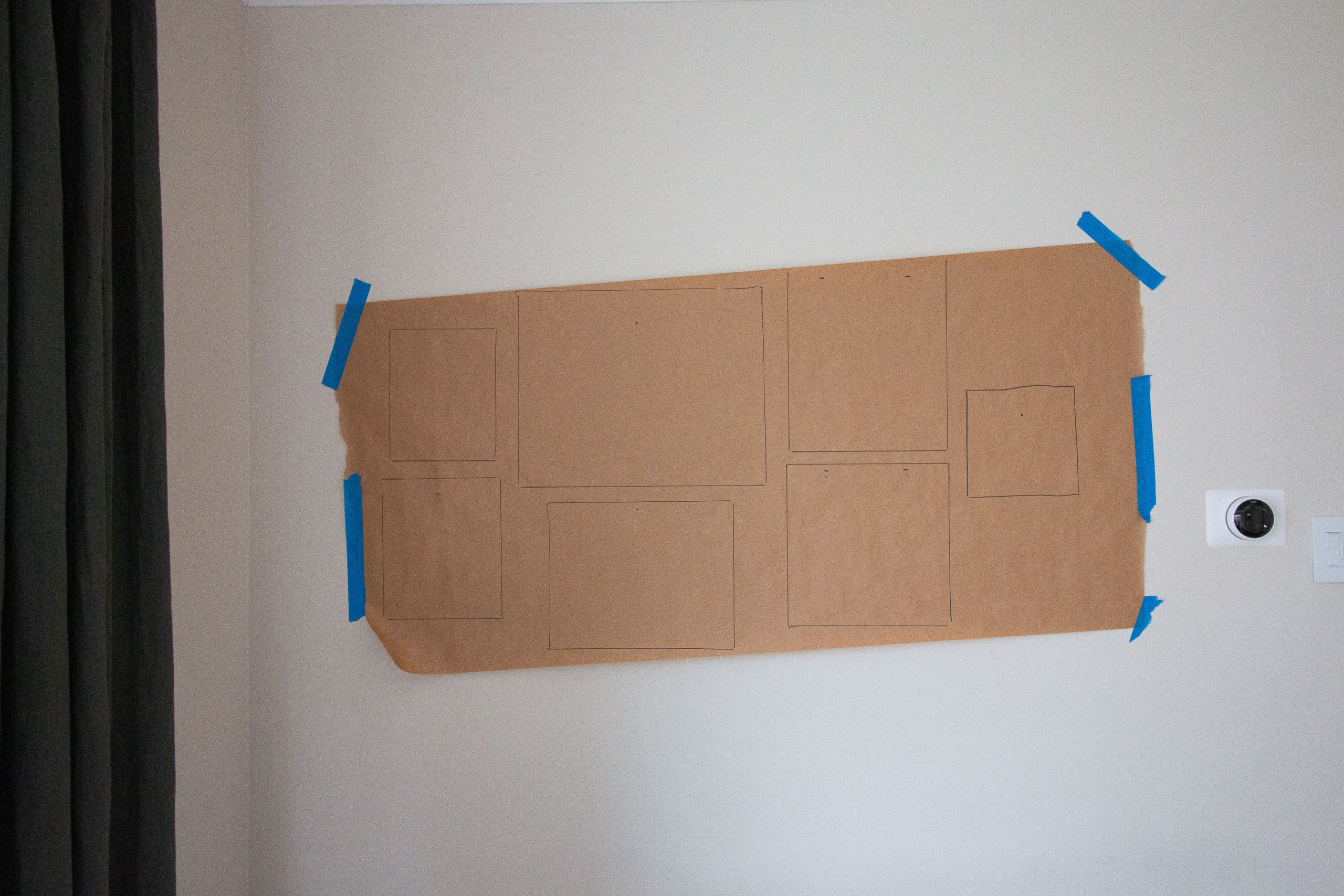 Hang wrapping paper on the wall